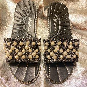 Black/Silver Beaded sandal